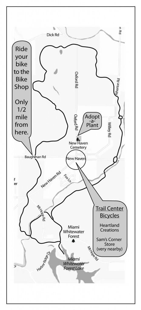 Map of Trail Center Bicycles and the Shaker Trace Bicycle Trail